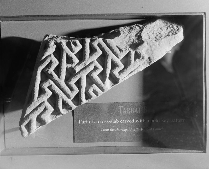 View of the cross-slab fragment Tarbat 8 at Portmahomack.