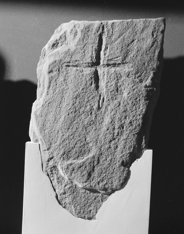 View of cross-incised fragment Tarbat 25 at Portmahomack.