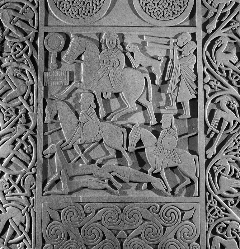 Detail of the hunting scene on the modern reconstruction sculpture by Barry Groves, representing face C of the cross-slab found at Hilton of Cadboll. The modern version stands close to the chapel site.