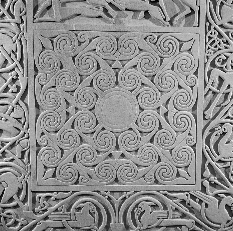 Detail of the spirals panel on the modern reconstruction sculpture by Barry Groves, representing face C of the cross-slab found at Hilton of Cadboll. The modern version stands close to the chapel site.