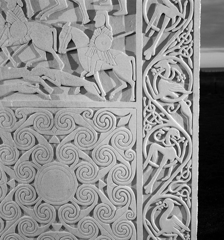 Detail of the vine scroll on the modern reconstruction sculpture by Barry Groves, representing face C of the cross-slab found at Hilton of Cadboll. The modern version stands close to the chapel site.