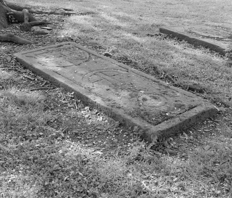 View of graveslab in churchyard at Kinneil old parish church, Bo'ness.