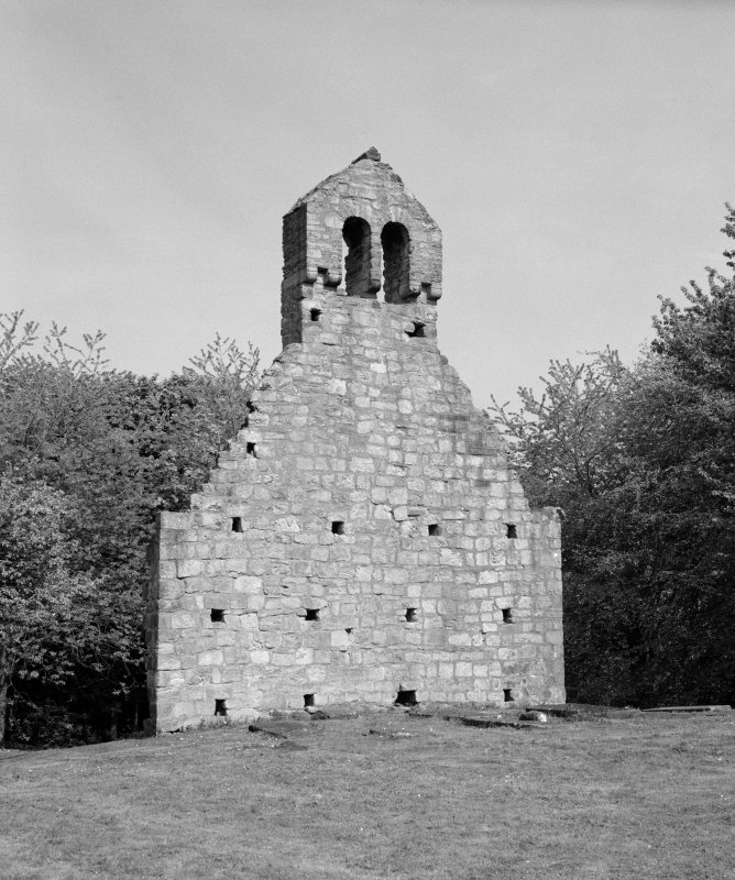 View of west gable of Kinneil Old Parish Church, Bo'ness.