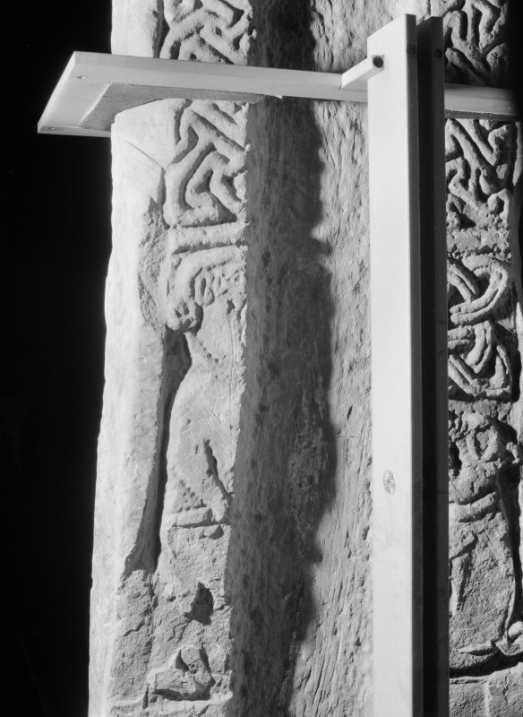 Detail of face A of the Pictish cross slab at Tower of Lethendy.