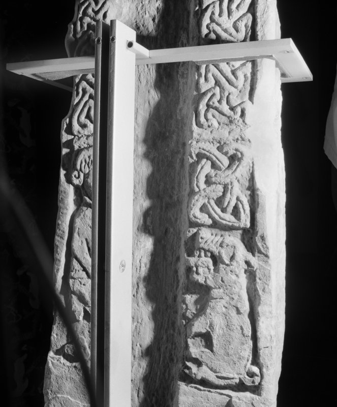 View of part of face A of the Pictish cross slab at Tower of Lethendy.