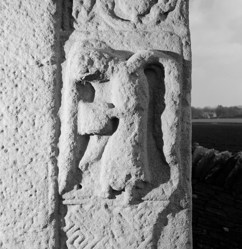 Detail of Pictish cross-slab Aberlemno 3, showing right-hand angel on face A.