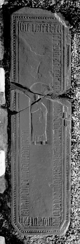 Ardchattan Priory. View of 16th century West Highland grave slab (DA2), commemorating Roderick, parson of Eilean Fhianain.