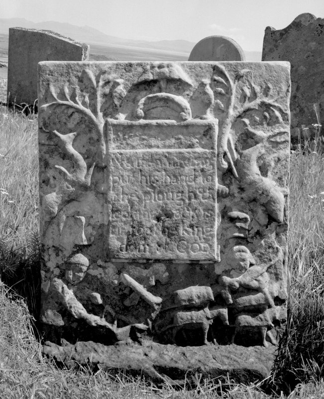 Kilchousland Old Parish Church, Campbell tombstone. General view of tombstone.