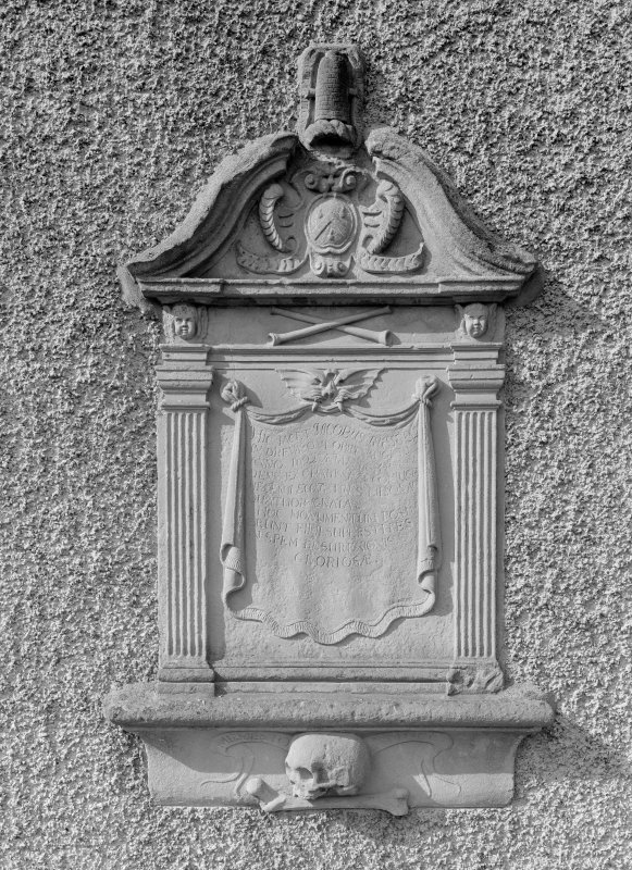 Detail of wall monument to James Russell in NE gable.
