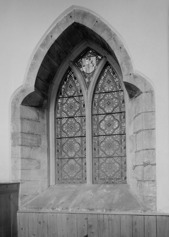 Interior. Nave, detail of window in SE elevation.