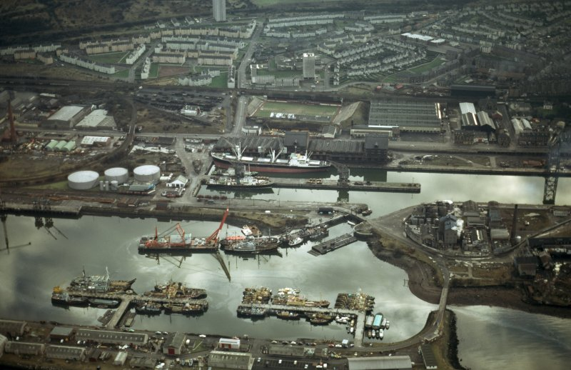 Oblique aerial view of the James Watt Dock, taken from the N.