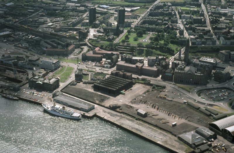 Oblique aerial view of Greenock Custom House, taken from the NE