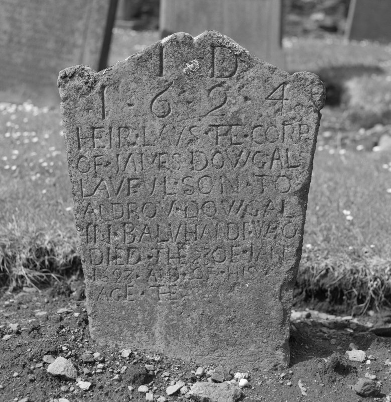 View of gravestone from St Serf's churchyard, Dunning.
