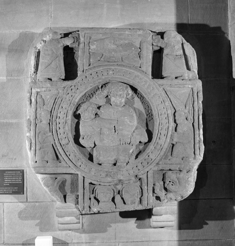 View of cross-slab fragment carved with the Virgin and Child at Brechin Cathedral.
