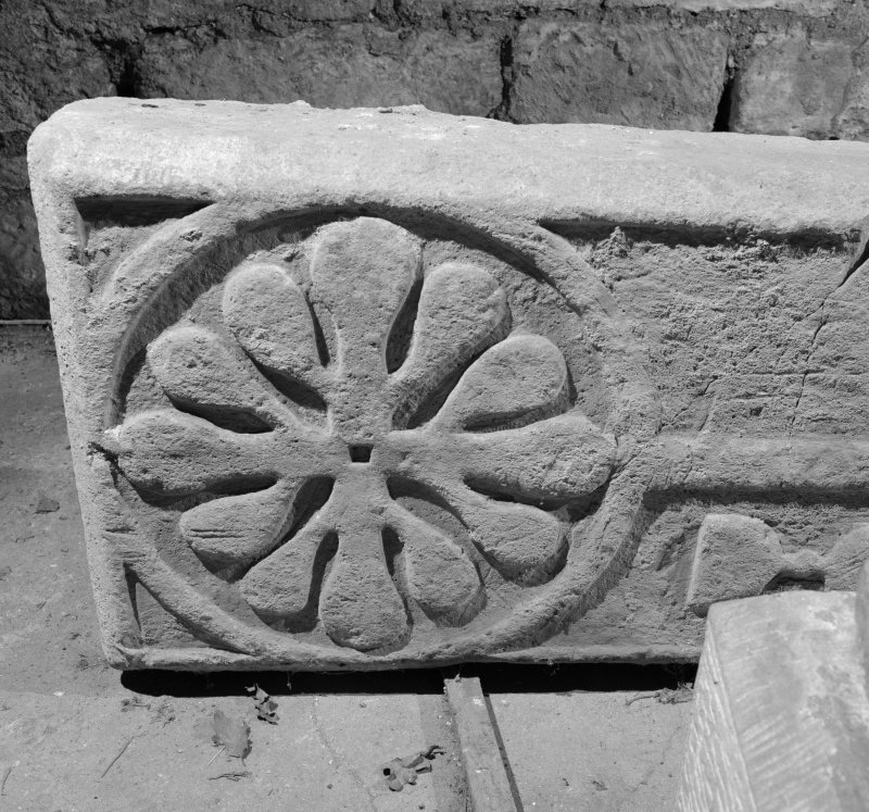 Detail of head of cross on medieval cross slab, Abercorn.