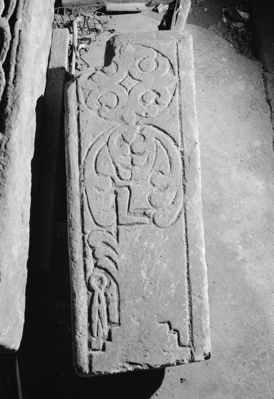 View of medieval carved cross slab fragment, Abercorn.