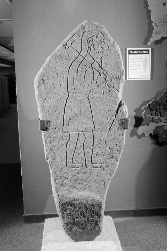 View of the Rhynie Man Pictish symbol stone.