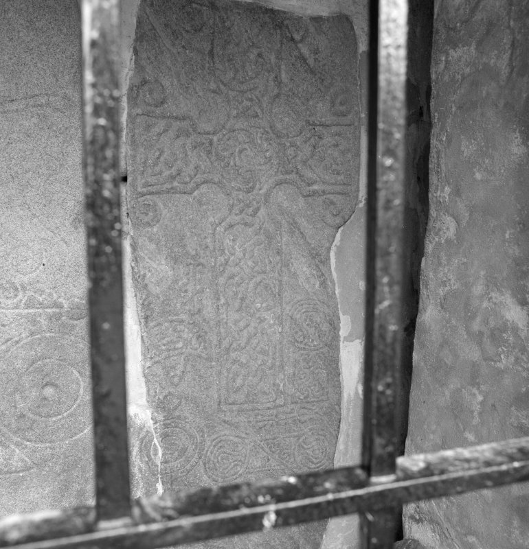 View of Pictish cross slab no.2, St Fergus Church, Dyce.