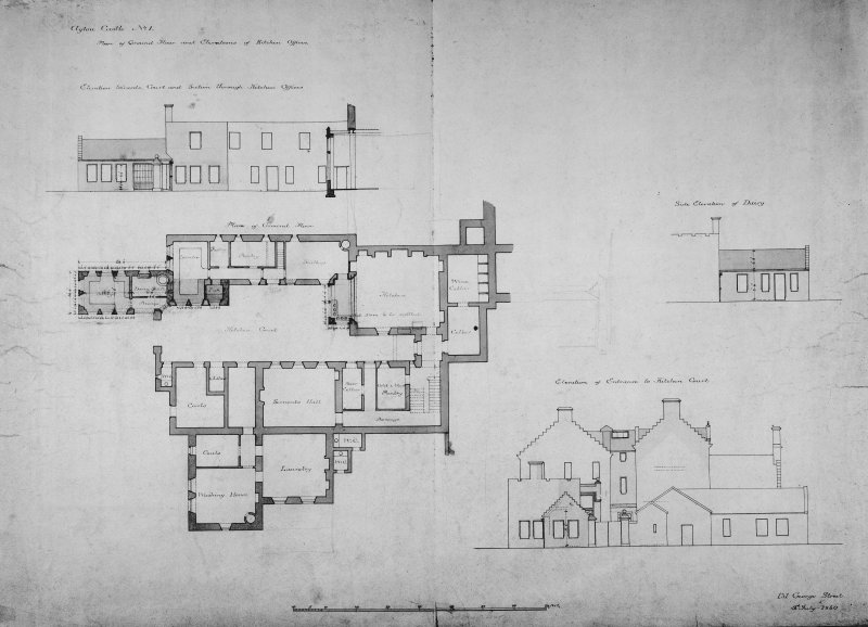 Plan ground floor and elevations of kitchen offices. No.1