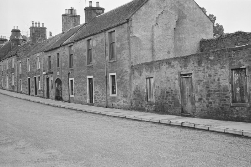 General view of buildings on the west side of Willoughby Street, Muthill, including Masonic lodge and Leny House.