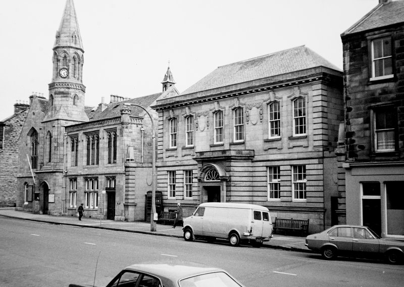 General view of Public Library, Post Office and Town Hall, High Street, Burntisland