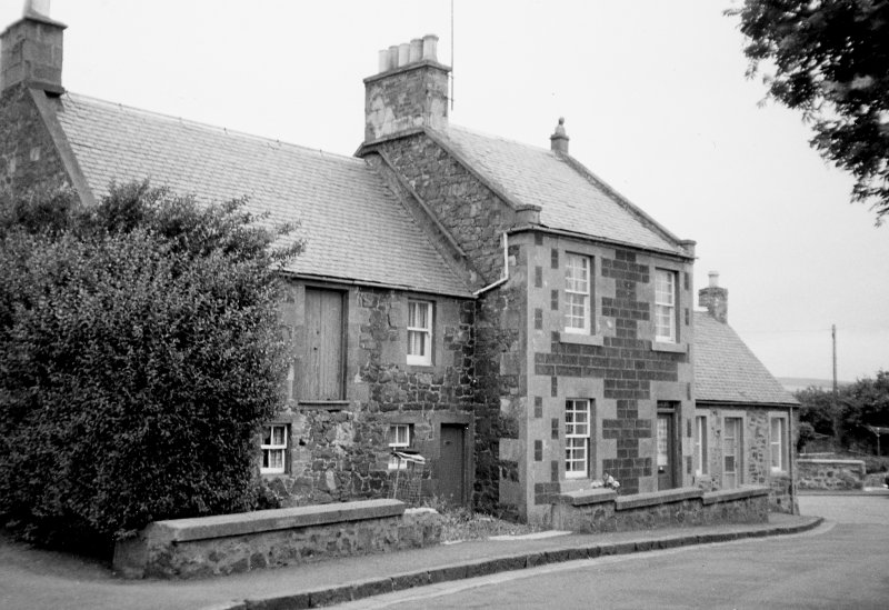 View from south west of Crombie House and adjoining house and shop