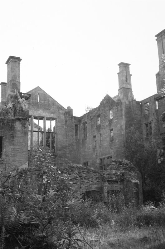 Argyll, Poltalloch House. General view of house in gutted state.