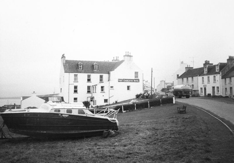 Port Charlotte Hotel, Islay. View from North-West.
