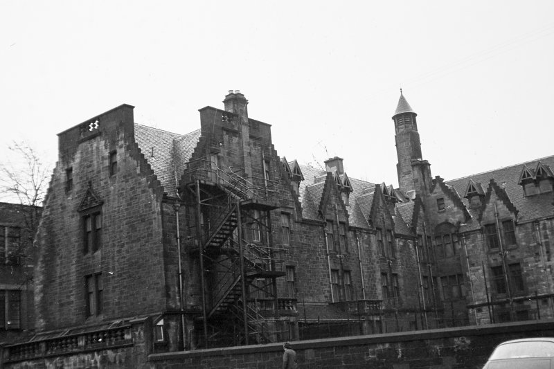 Glasgow, Church Street, Western Infirmary. General view of rear with fire escapes.