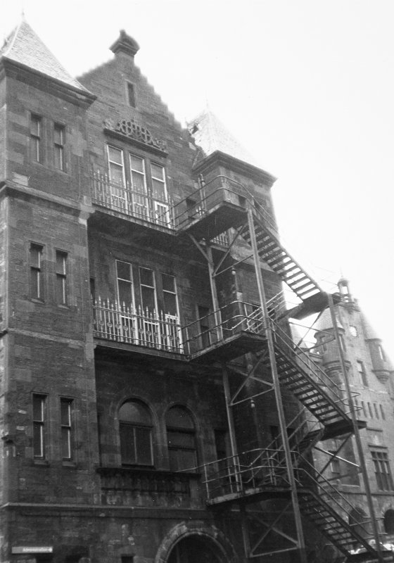 Glasgow, Church Street, Western Infirmary. General view including fire escape ladders.