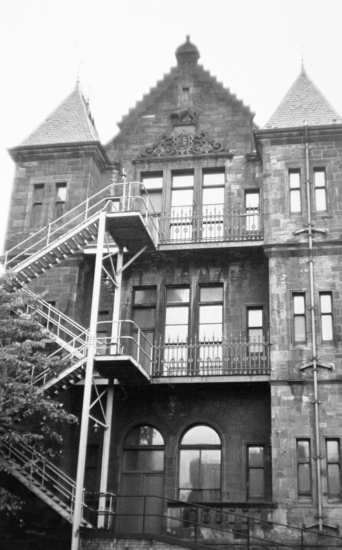 Glasgow, Church Street, Western Infirmary. General view of rear including fire escape ladders.