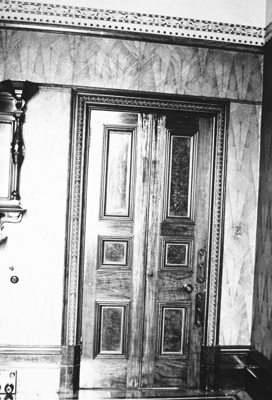 Glasgow, 6 Rowan Road, Craigie Hall, interior. View of door in library.