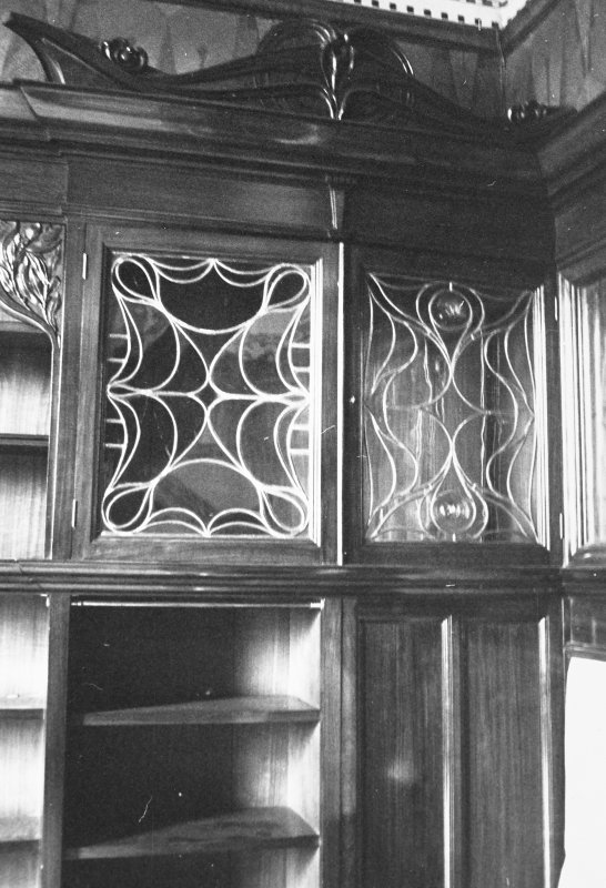 Glasgow, 6 Rowan Road, Craigie Hall, interior. Detail of bookshelf in library.
