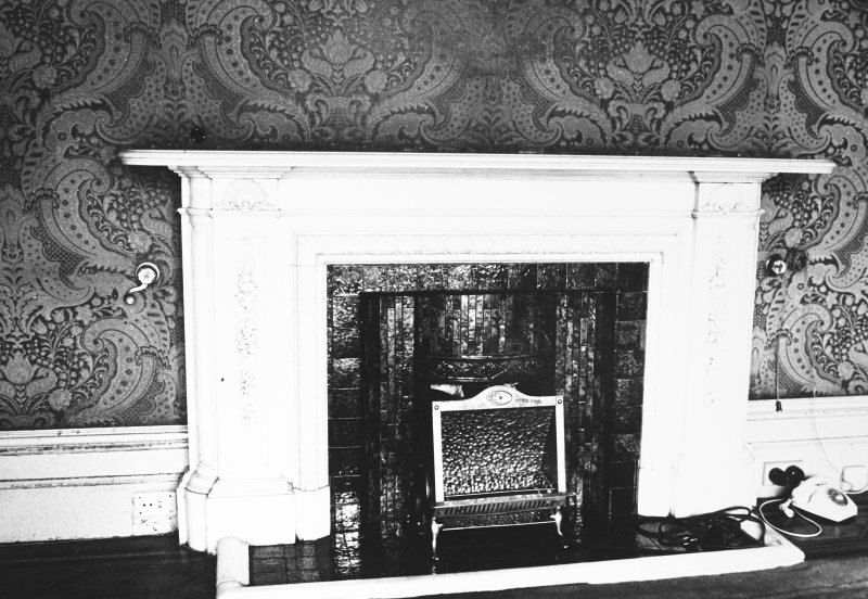 Glasgow, 6 Rowan Road, Craigie Hall, interior. View of small second fireplace in drawing room.