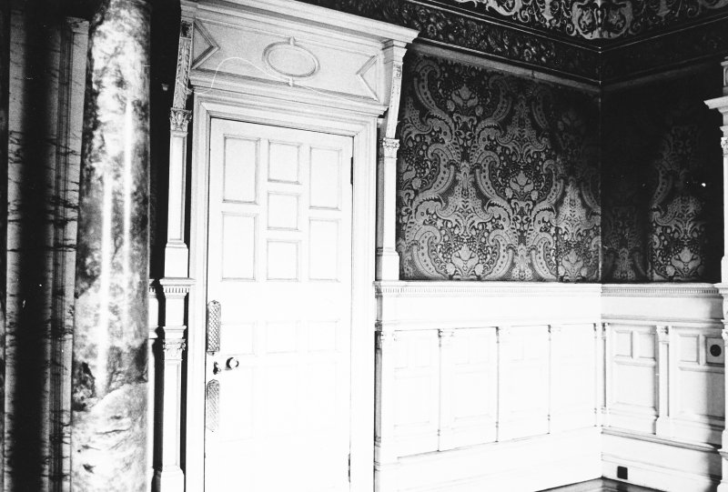 Glasgow, 6 Rowan Road, Craigie Hall, interior. View of door and panelling in drawing room.