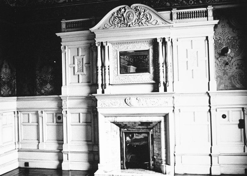 Glasgow, 6 Rowan Road, Craigie Hall, interior. View of large firplace in drawing room.