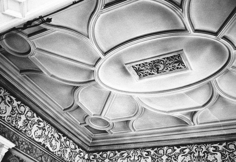 Glasgow, 6 Rowan Road, Craigie Hall, interior. View of alcove ceiling in drawing room.