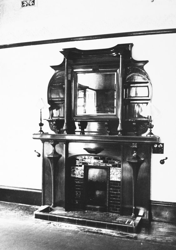 Glasgow, 6 Rowan Road, Craigie Hall, interior. View of fireplace in music room.