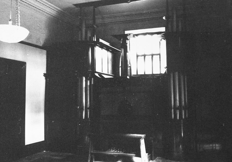 Glasgow, 6 Rowan Road, Craigie Hall, interior. View of organ in music room.