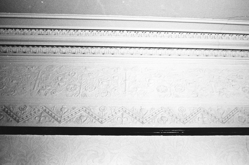 Glasgow, 6 Rowan Road, Craigie Hall, interior. Detail of frieze and cornice in music room.