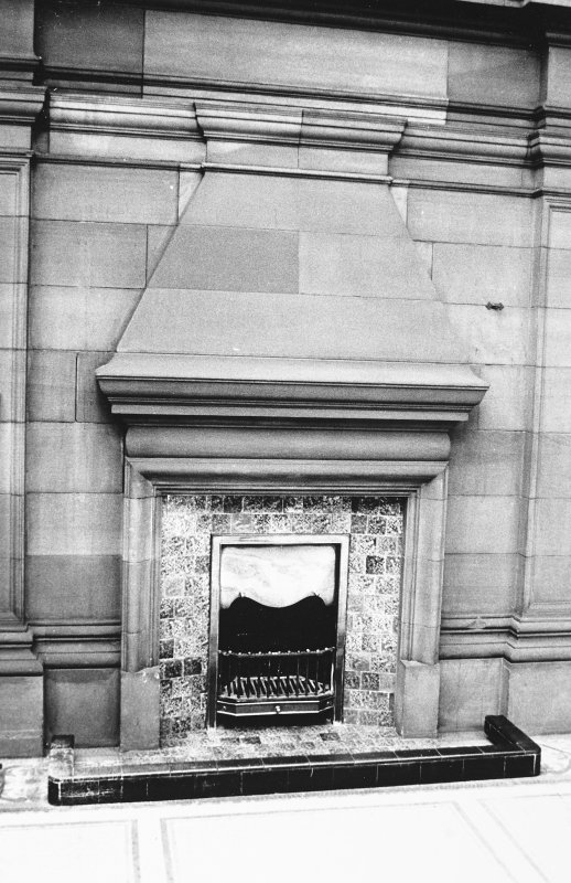Glasgow, 6 Rowan Road, Craigie Hall, interior. View of fireplace in Winter Garden.