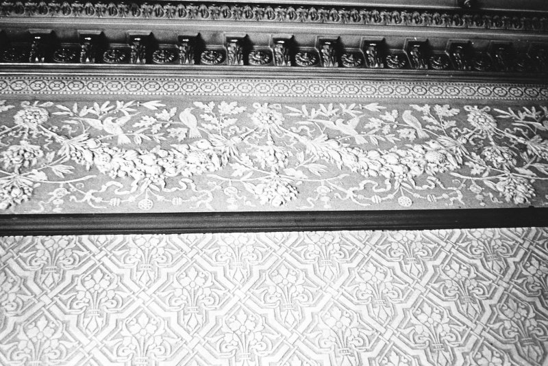 Glasgow, 6 Rowan Road, Craigie Hall, interior. Detail of frieze in dining room.