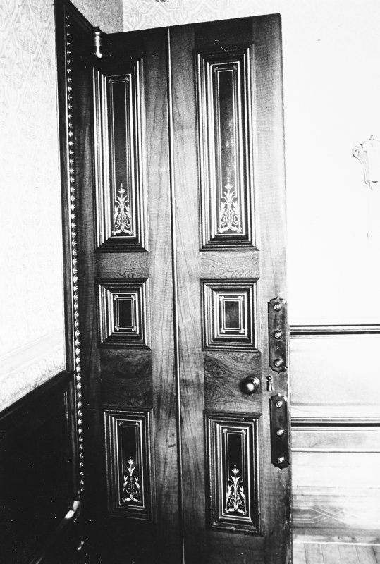 Glasgow, 6 Rowan Road, Craigie Hall, interior. View of dining room door.