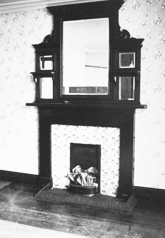 Glasgow, 6 Rowan Road, Craigie Hall, interior. View of fireplace in sevice wing office.