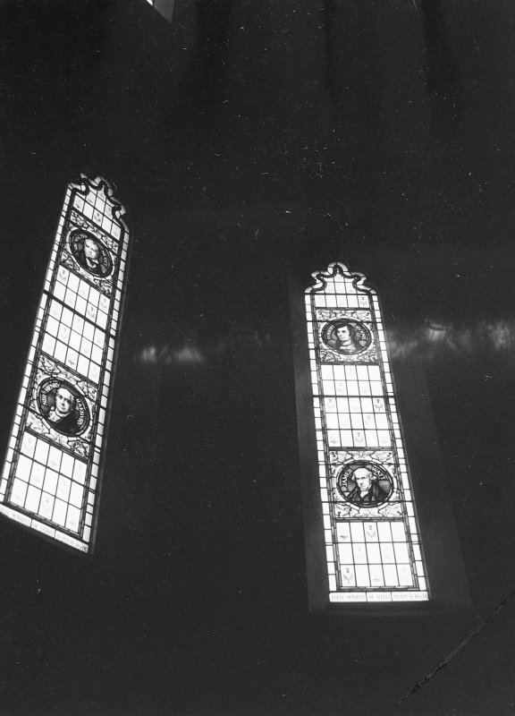 Interior view of stained glass windows.