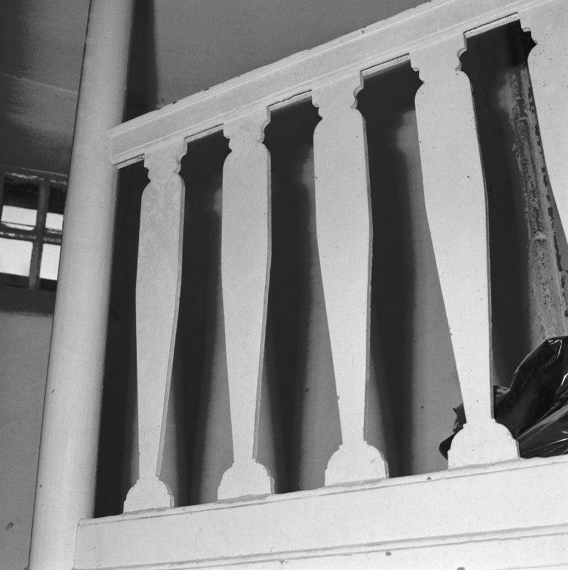 Gardyne Castle. Interior. Detail of banisters.