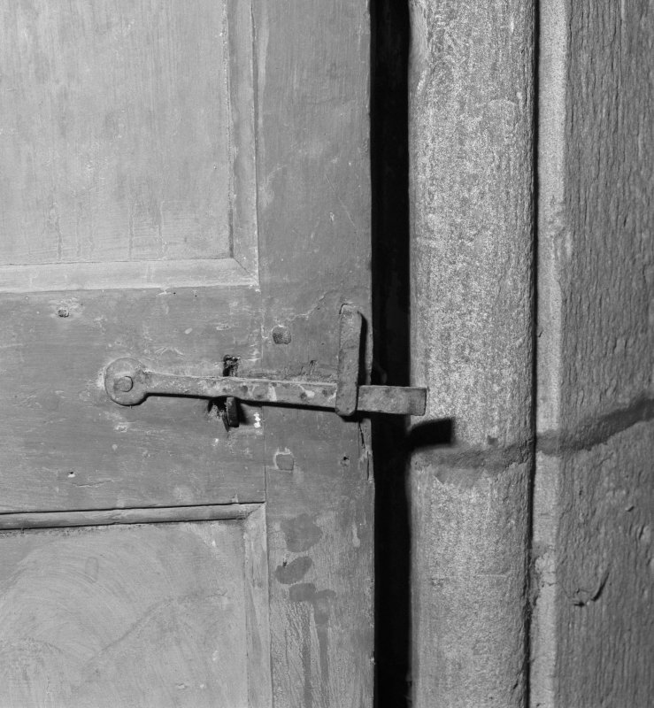 Gardyne Castle. Interior. Detail of door latch.