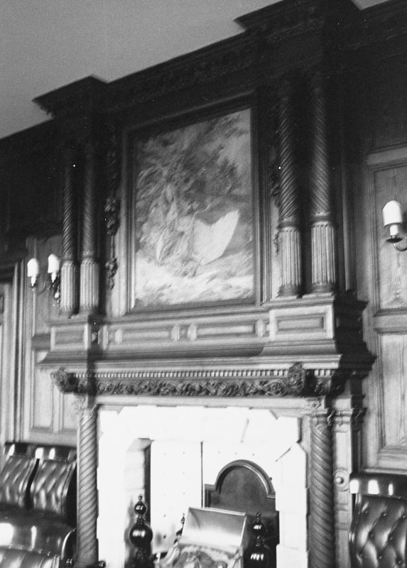 Interior. Detail of fireplace.