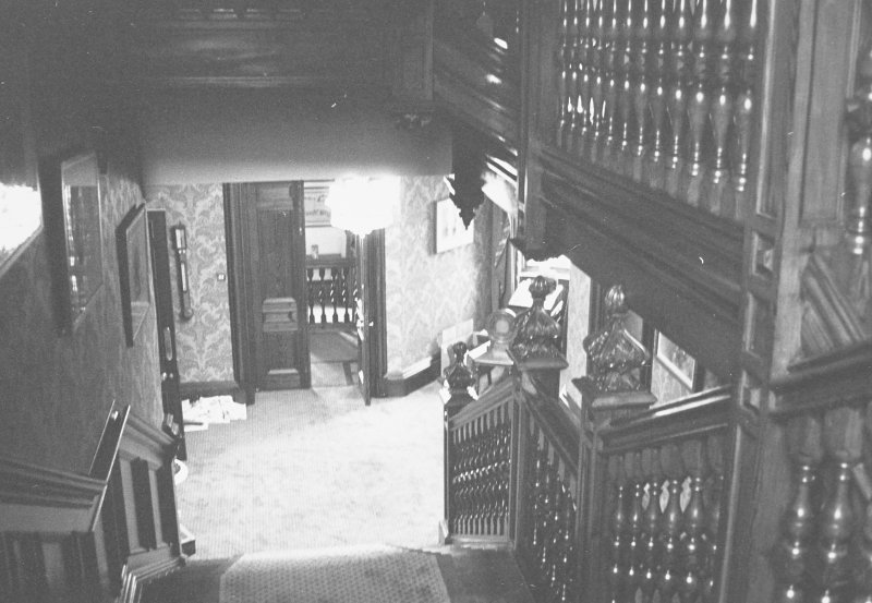 Interior. View of staircase to hall.