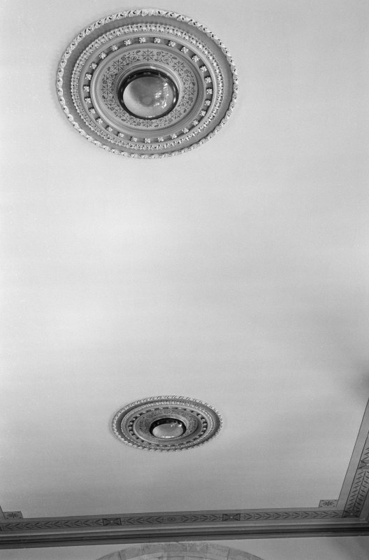 Interior view of Fyvie Church showing detail of ceiling lights.